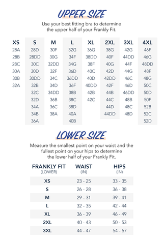 Size chart with bra cup sizes
