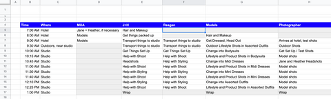 Excel file with hour by hour schedule for photo shoot