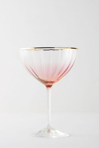 pink and gold coupe drink glass
