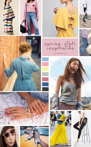 collage of images of clothing, jewelry, and color palettes