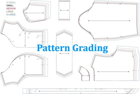 "technical line drawings of pattern with words ""pattern grading"" overlaid"