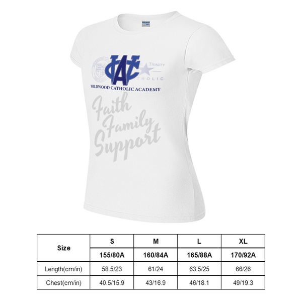 Wildwood Catholic Academy Support White Short-Sleeved T-Shirt for Women