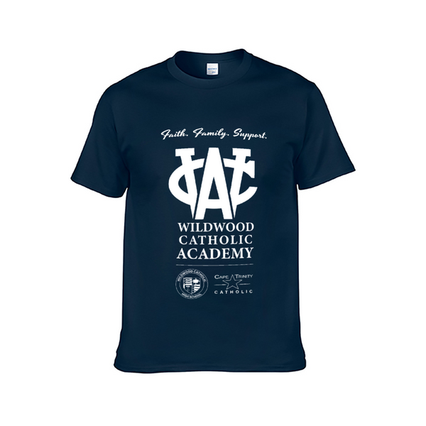 Wildwood Catholic Academy Support Dark Blue Adult Short Sleeve T-Shirt for Men and Women
