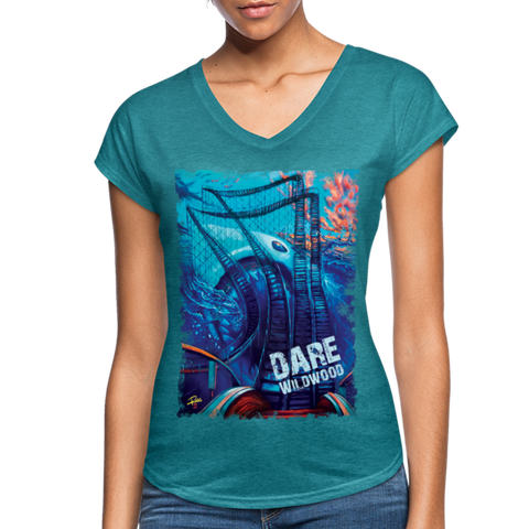 Dare Wildwood Women's Tri-Blend V-Neck T-Shirt - heather turquoise