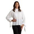 Camicia donna maniche lunghe in georgette bottoni gioielli made in Italy 1488 - Nada Home