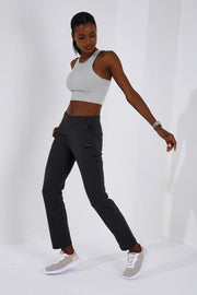 Women's Straight Cut Anthracite Melange Sweatpants - Myacha.com