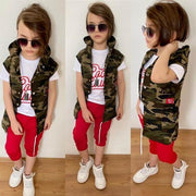 Boy's Chain Detail Camo Pattern Outfit Set- 3 Pieces - Myacha.com