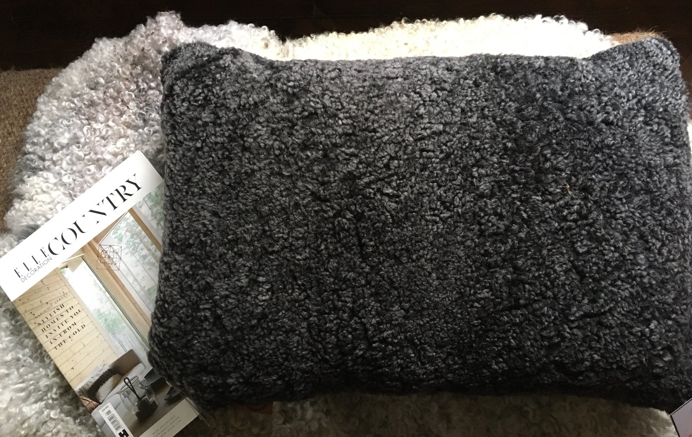 Curly Dark Grey Sheepskin Cushion