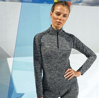 Customisable, personalise Women's TriDri® Seamless '3D Fit' Multi-Sport Performance Zip Top - Stitch & Print NI