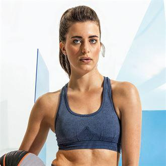 Customisable, personalise Women's TriDri® Seamless '3D Fit' Multi-Sport Denim Look Bra - Stitch & Print NI