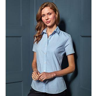 Customisable, personalise Premier Ladies Microcheck Gingham Short Sleeve Shirt - Stitch & Print NI