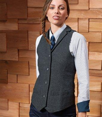 Customisable, personalise Premier Ladies Herringbone Waistcoat - Stitch & Print NI