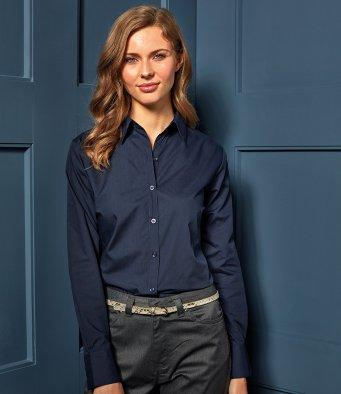 Customisable, personalise Premier Ladies Long Sleeve Poplin Blouse - Stitch & Print NI
