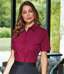 Customisable, personalise Premier Ladies Short Sleeve Poplin Blouse - Stitch & Print NI