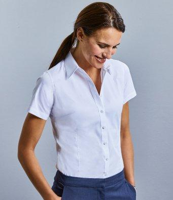 Customisable, personalise Russell Collection Ladies Short Sleeve Tailored Coolmax® Shirt - Stitch & Print NI