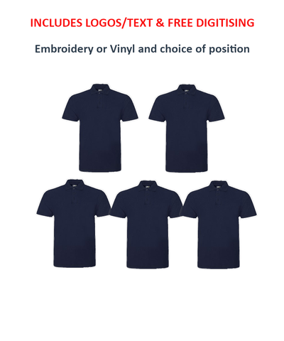 Customisable, personalise RTX Polo Shirts Package Deal - Stitch & Print NI