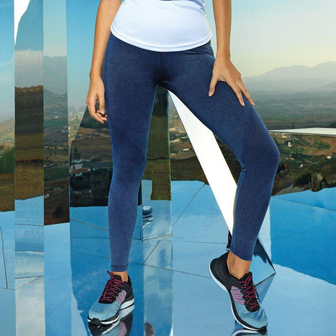 Customisable, personalise Women's TriDri® Seamless '3D Fit' Multi-Sport Denim Look Leggings - Stitch & Print NI