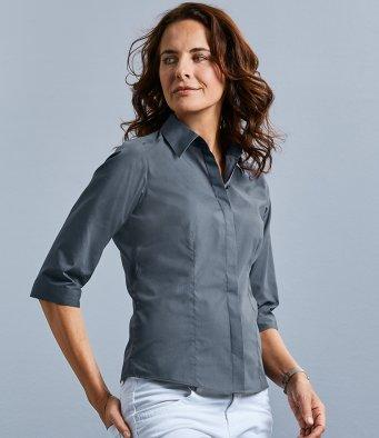 Customisable, personalise Russell Collection Ladies 3/4 Sleeve Fitted Poplin Shirt - Stitch & Print NI