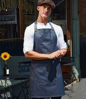 Customisable, personalise Premier District Waxed-Look Denim Bib Apron - Stitch & Print NI