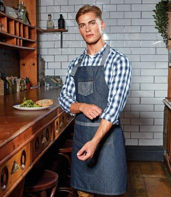 Customisable, personalise Premier Domain Contrast Denim Bib Apron - Stitch & Print NI