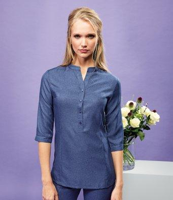 Customisable, personalise Premier Verbena 'Linen Look' Button-up Beauty Tunic - Stitch & Print NI