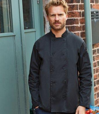 Customisable, personalise Premier Chef's Coolchecker® Long Sleeve Jacket - Stitch & Print NI