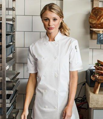 Customisable, personalise Premier Women's Short Sleeve Chef's Jacket - Stitch & Print NI