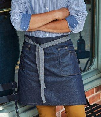Customisable, personalise Premier Division Waxed-Look Denim Waist Apron - Stitch & Print NI
