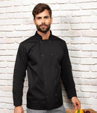 Customisable, personalise Premier Studded Front Long Sleeve Chef's Jacket - Unisex - Stitch & Print NI