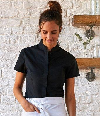 Customisable, personalise KK Women's Bar Shirt Mandarin Collar Short Sleeve (Tailored Ft) - Stitch & Print NI