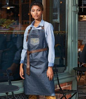 Customisable, personalise Premier Division Waxed-Look Denim Bib Apron with Faux Leather - Stitch & Print NI