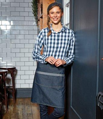 Customisable, personalise Premier Domain Contrast Denim Waist Apron - Stitch & Print NI
