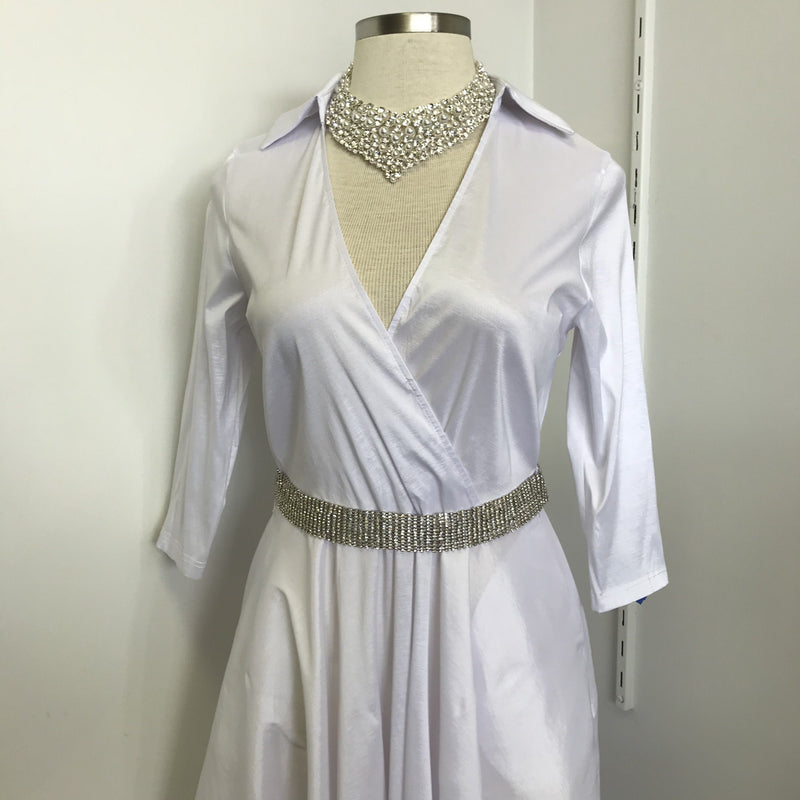 YEPPG Size 14/16 White Evening Long Dress - Style Plus Consignment Boutique