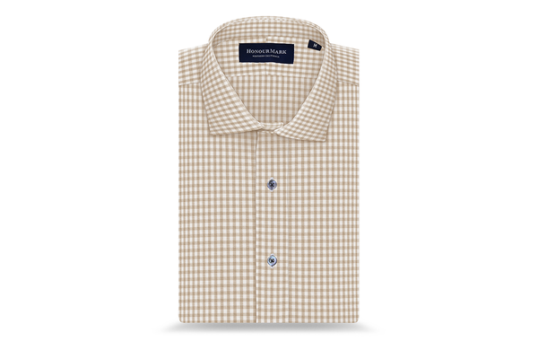 The Tencel Gingham Oxford - Sand
