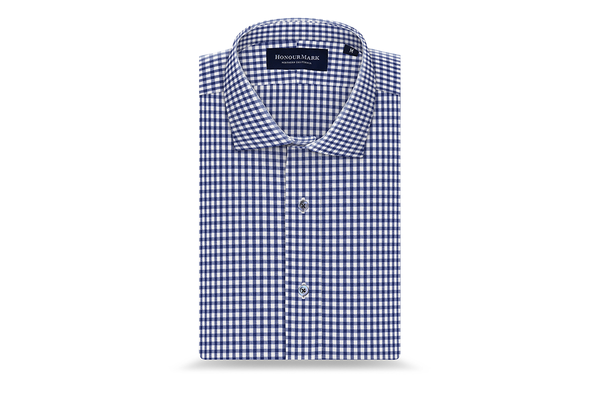 The Tencel Gingham Oxford - Deep Navy