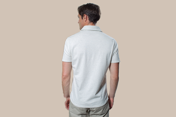 Short Sleeve Cut-Away Knit - Heathered White