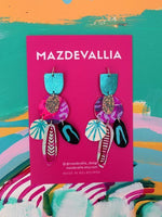 MAZDEVALLIA  Bird Orchid Statement Earrings - Turquoise