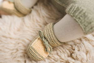 Green striped yellow alpaca wool and silk fibre baby boots