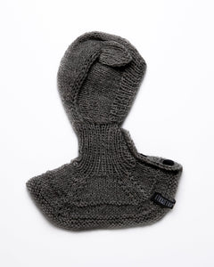 Dark grey alpaca wool ear flap hat