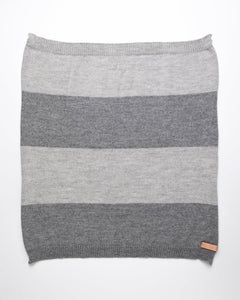 Grey striped baby blanket