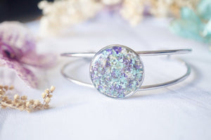 Real Dried Flowers and Resin Bracelet in Mint Purple White