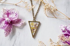 Real Dried Flowers in Resin Necklace Purple Yellow Mix