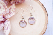 Load image into Gallery viewer, Real Dried Flowers and Resin Earrings, Circle Drops