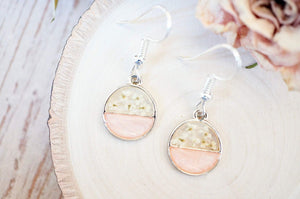 Real Dried Flowers and Resin Earrings, Circle Drops