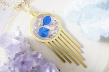 Load image into Gallery viewer, Real Dried Flowers in Resin, Brass Necklace in Blue Purple and White