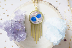 Real Dried Flowers in Resin, Brass Necklace in Blue Purple and White