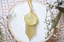 Load image into Gallery viewer, Real Dried Flowers in Resin, Brass Necklace in Mint With Gold Foil