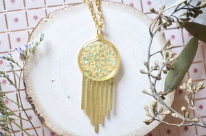 Real Dried Flowers in Resin, Brass Necklace in Mint With Gold Foil
