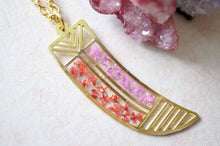 Load image into Gallery viewer, Real Dried Flowers in Resin, Brass Tribal Horn Necklace in Teal Pink Yellow