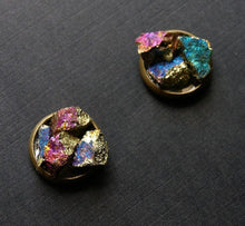 Load image into Gallery viewer, Peacock Ore Cluster Stud Earrings